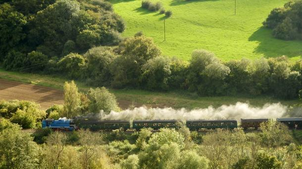 The Three Valley Railway as seen from La Roche à Lomme.