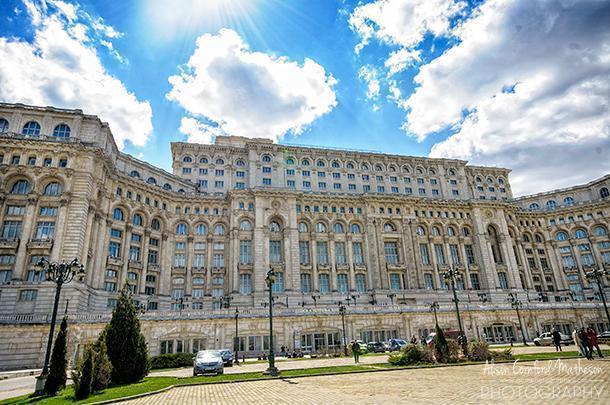 The Romanian Parliament building in Buchrest, Romania