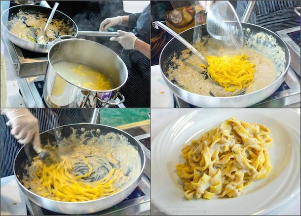 Homemade tagliatelle in fish sauce at the Slow Food Fair.