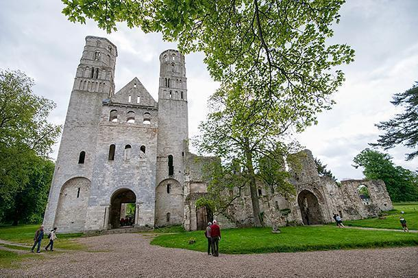 From the front, it's hard to tell Jumieges is a ruin at all