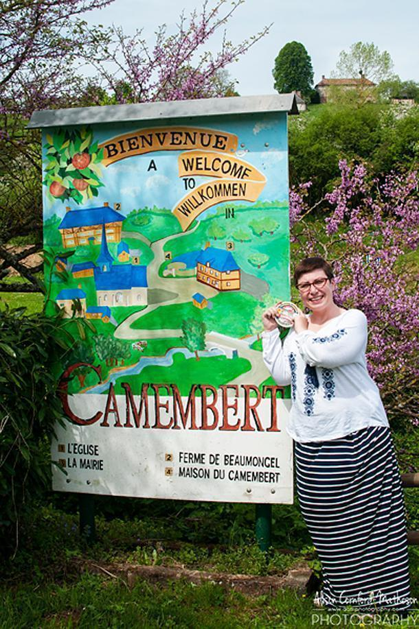 It may be cheesy, but 'The Big Cheese' had to get her photo taken in Camembert