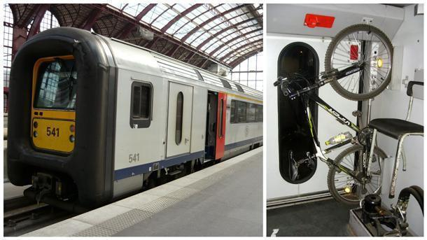 Let's hang our bicycle! An AM96 EMU and its baggage van.