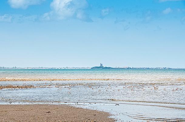 Sea-birds soar along the beach as we spy tomorrow's destination in the distance.