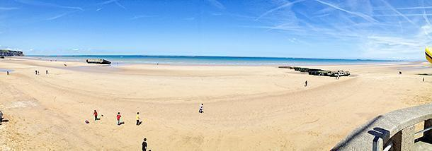 The beach at Arromanches and what remains of the harbour