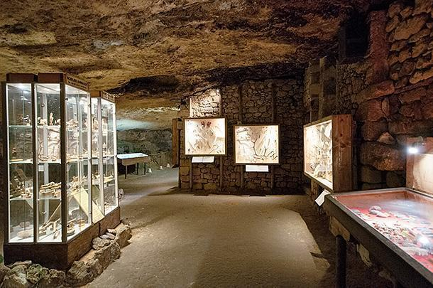 The former storage area is now a museum of findings at the chateau