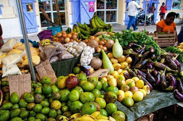The market in Cayenne is a riot of colourful fruits and vegetables