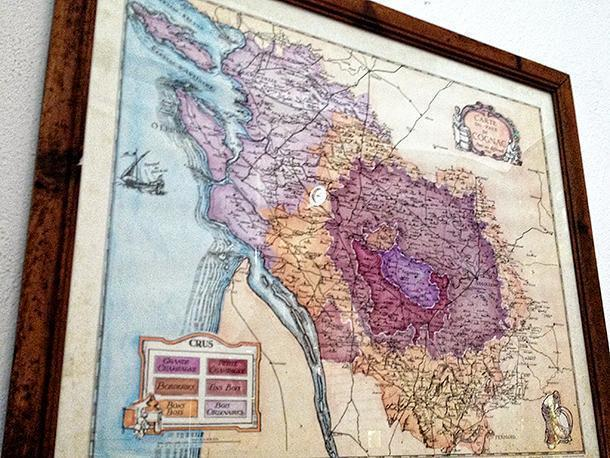The map of Cognac hangs proudly in the distillery