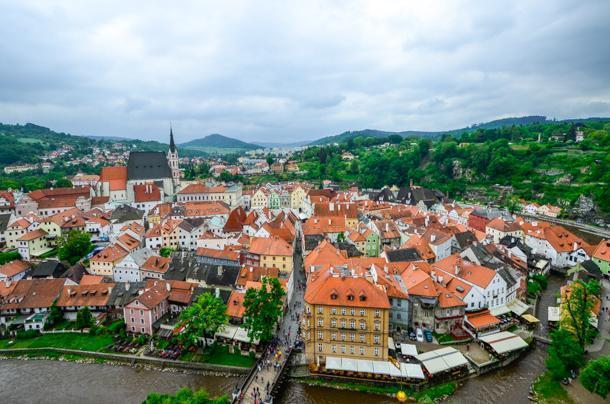 The view from the castle tower in Cesky Krumlov