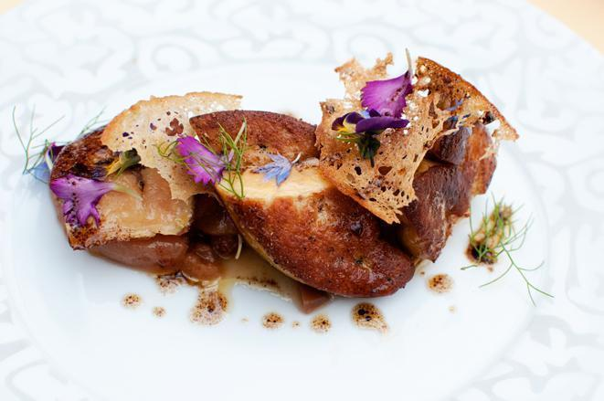 Foie gras from Mitteault, fried with pear chutney.