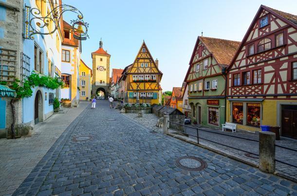 Quiet evening in Rothenburg's most iconic area