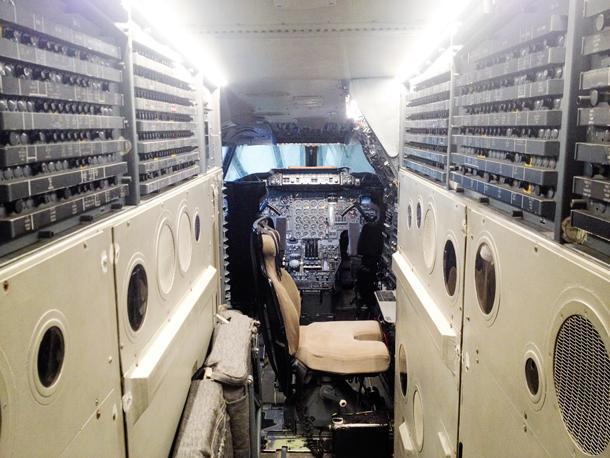 The cockpit of the Concorde is a mess of switches and relays