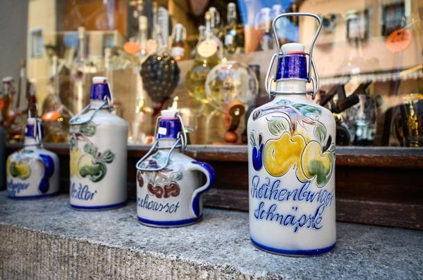The local schnapps in pretty bottles