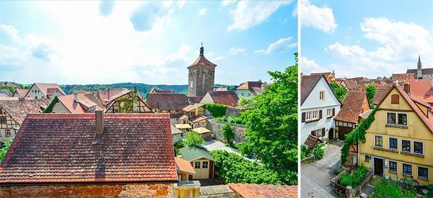 Walking along the town wall gives a great view of the rooftops