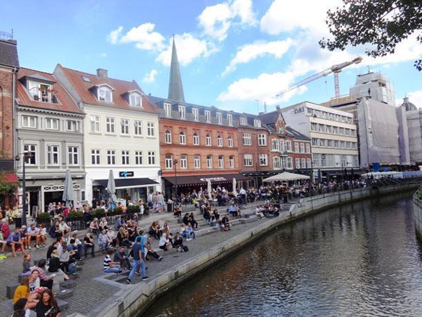 The Aarhus River, flowing through the bustling city centre of Aarhus
