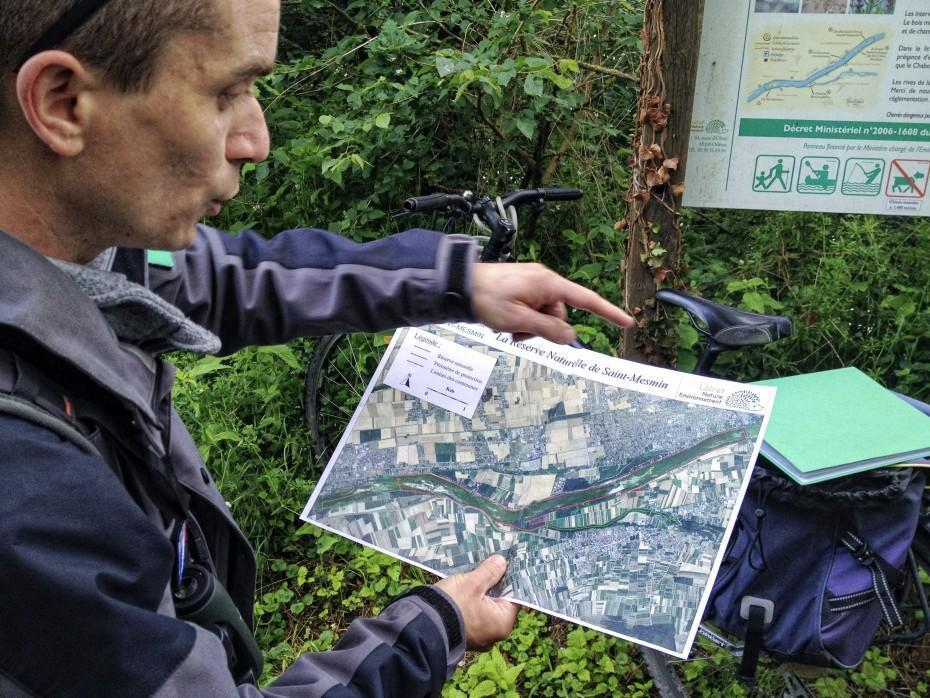 Damien shows us the narrow confines of the nature reserve.