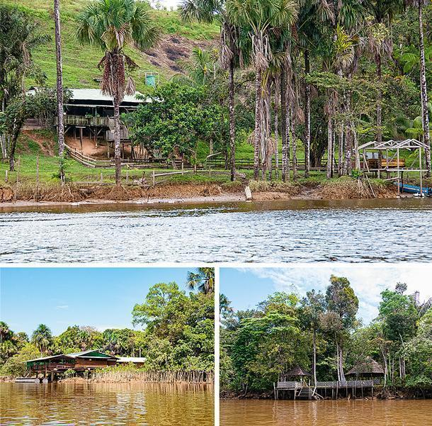 Temporary (and not so temporary) structures along the criques in French Guiana