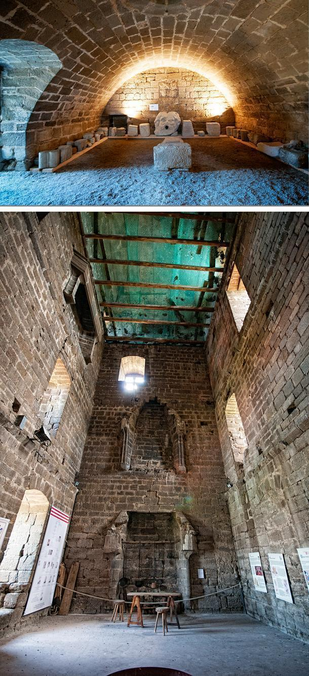 Inside the castle tower is beginning to crumble