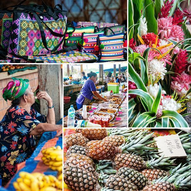 The colourful Hmong Market in Cacao, French Guiana