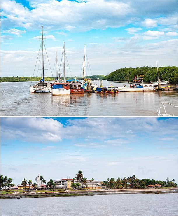 Leaving the old port of Kourou, we sailed past the Hotel des Roches where we spent the first 2 nights of our stay in French Guiana