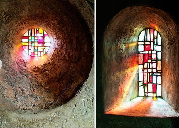 The Mondrian-like stained glass windows
