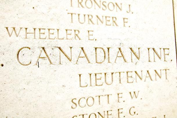 Menin Gate, Ypres, lists all of the names of soldiers with no known grave