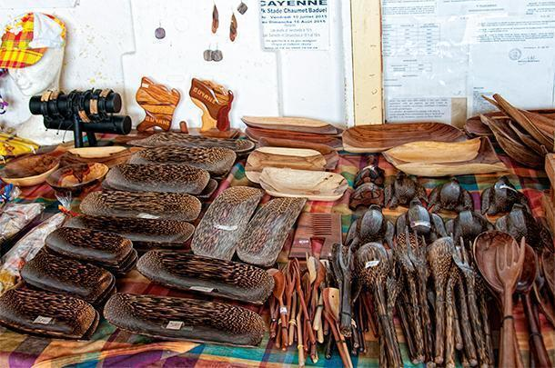 Carved items in decorate woods are another popular souvenir from French Guiana