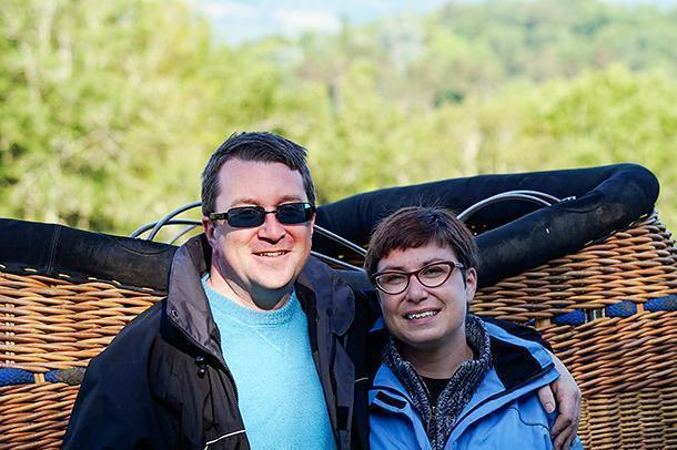Happy after our magical balloon ride in the Dordogne