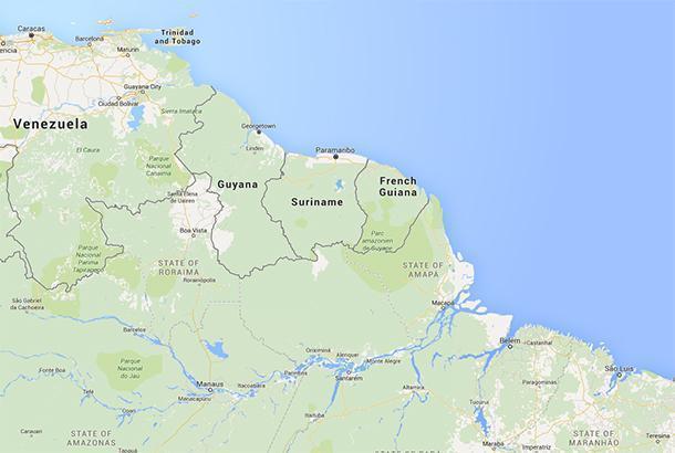 French Guiana on South America's Atlantic coast