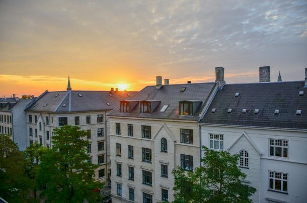 Sunrise from our apartment, in Copenhagen