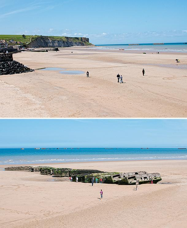 The D-Day landing becahes, along the coast of Normandy, France