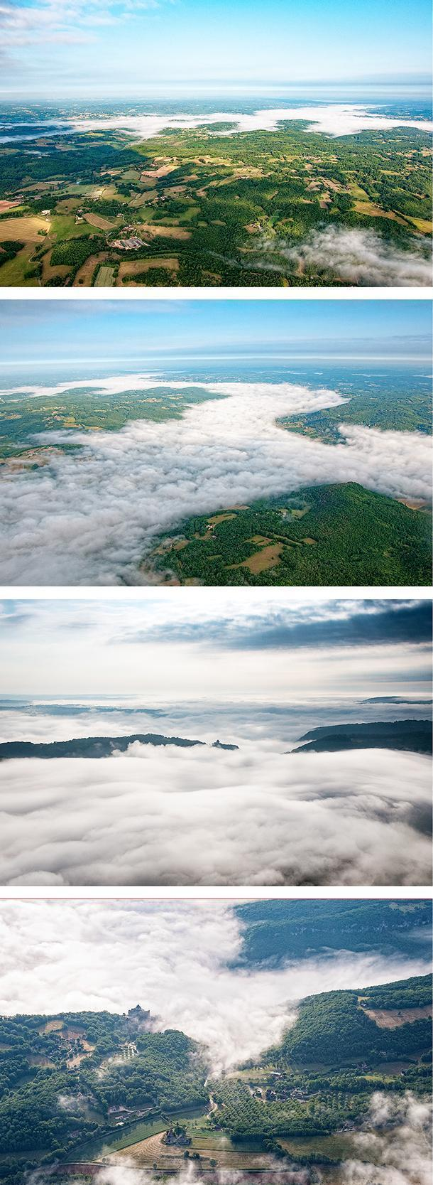 We see the Dordogne River shrouded by the clouds