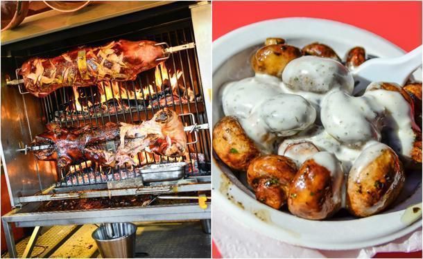 Tasty treats at the Swabian hall like roast pork and mushrooms with garlic sauce