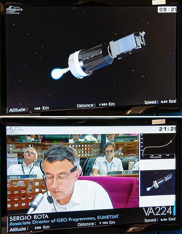 Watching the satellites launch on the computer demo.