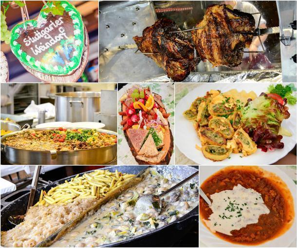 Wine inspired dishes like tripe in calvados, maultaschen, mushroom stews and kraut, cold cuts platter, and rotisserie pig