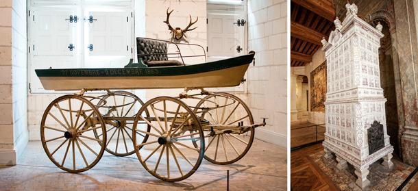 Throughout the chateau are unique furniture and museum pieces like this early 'all-terrain vehicle' and stunning ceramic furnace.