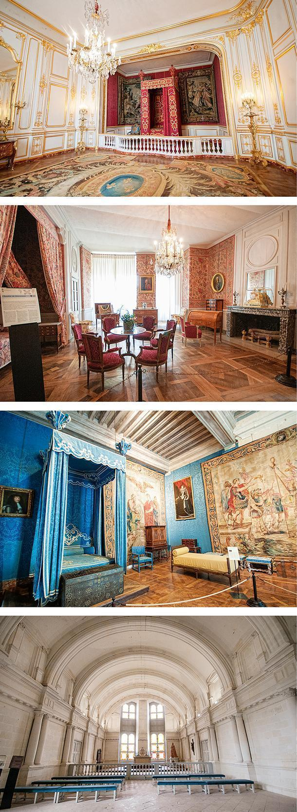 The rooms are furnished to reflect the opulence of the chateaux of the period.