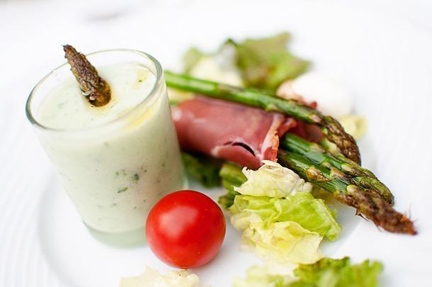 Crisp asparagus is the perfect start to the meal