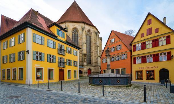 Back of St. George's Minster in Dinkelsbuhl, Germany