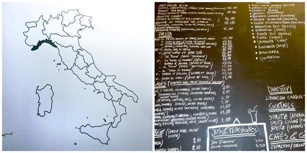 Map of Italy showing the Ligurian region and the blackboard with the extensive lunch menu