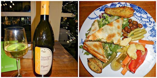 Pigato wine and the antipasti platter