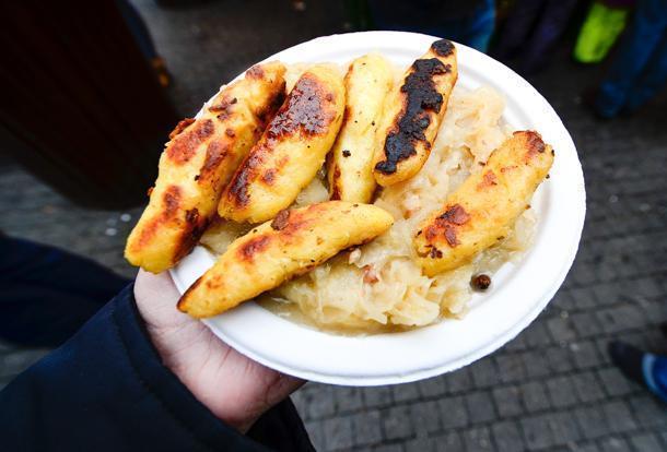 Schupfnudeln with hot Sauerkraut and bacon at Stuttgart's Christmas Market