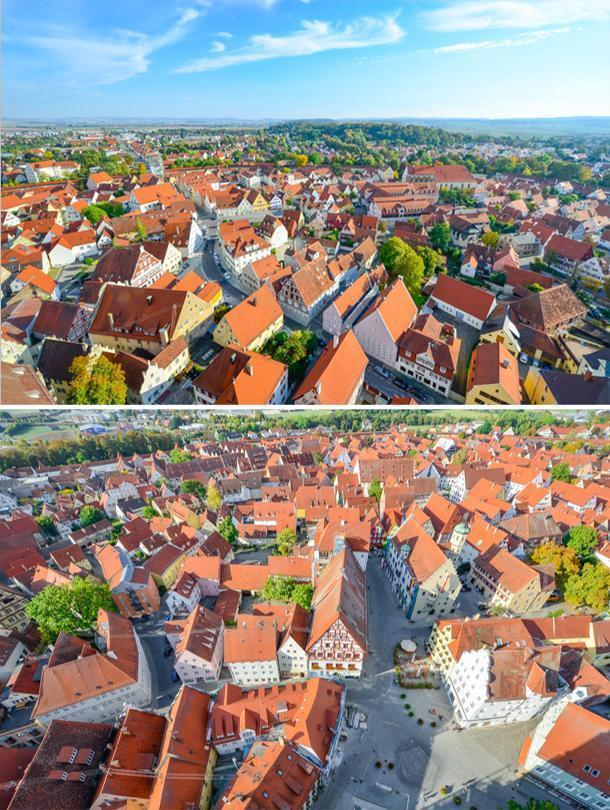 a bird's eye view of Nordlingen from Saint George's Chruch