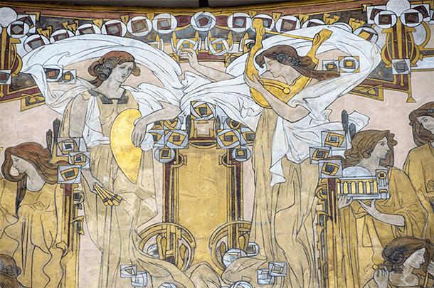 An Art Nouveau detail of the stunning Maison Cauchie in Brussels, Belgium