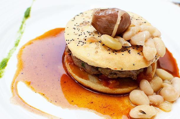 An haute cuisine lamb burger