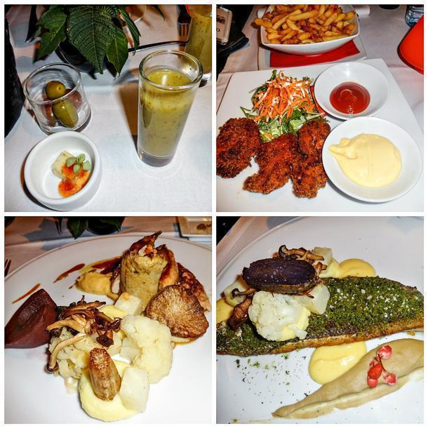 Upper left: Courgette soup and cheese with pepper jelly Upper right: Chicken nuggets, salad and fries Lower left: Pheasant with its accompaniments Lower right: Sea bass along with mashed potatoes, yacon, cauliflower and artichoke sauce