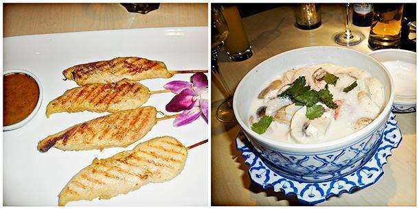 Grilled chicken skewers with satay sauce and the Tom Kha Kai soup