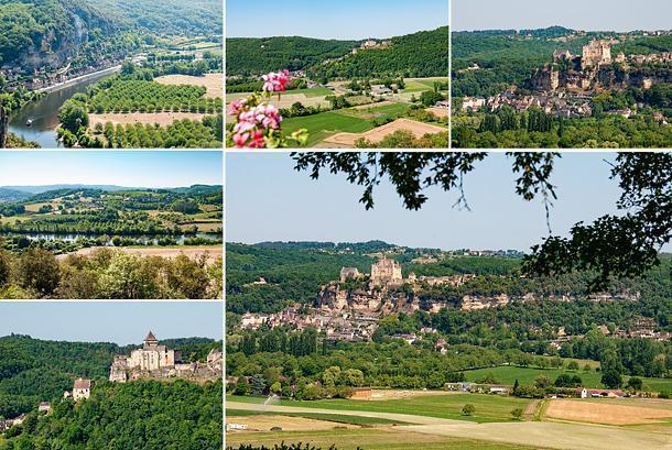 Beynac and Castelnaud castles can be spotted from Marqueyssac Gardens