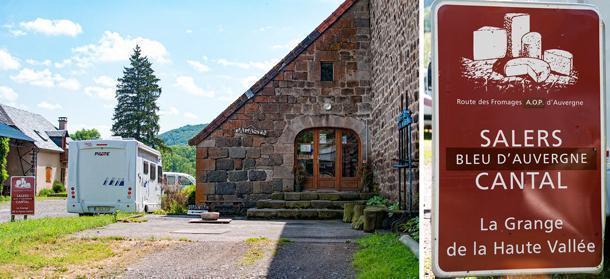 Amelia parked beside Ferme de la Haute Vallee on the Auvergne AOP Cheese Route