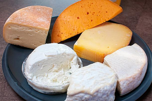 A selection of cheeses from Nord-Pas-de-Calais, France