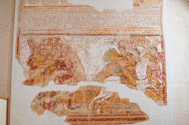 The remains of a fresco inside Saint Savin's Museum